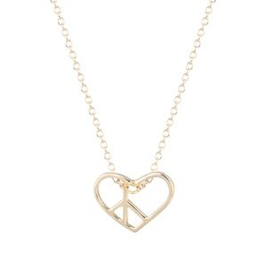Jewelry - 14K Gold Open Heart Peace Sign Necklace